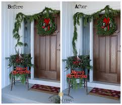 christmas front porch decorating with porch pots and fresh garland