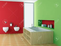 modern bathroom with red and green walls stock photo picture and