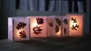 How To Make Paper Light Lanterns - cheap fall craft idea how to make leaf lanterns with wax paper
