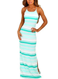 annflat women u0027s sleeveless multicolor striped sundress side slit