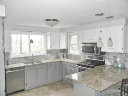 our oak kitchen makeover oak kitchen makeover toned gray and white cabinets subway tile for