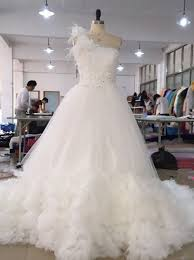 one shoulder wedding dress buy luxious one shoulder court white wedding dress with