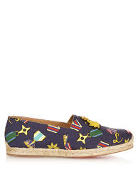 christian louboutin papi hugo embroidered espadrilles in blue for