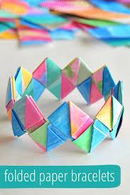 Easy Paper Craft Ideas For Kids - how to make folded paper bracelets picklebums