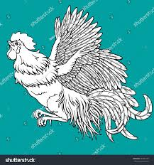 flying rooster coloring on blue background stock vector 544667539