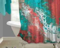 Coral And Grey Shower Curtain Coral And Blue Shower Curtain Zoomaqua Coral Metallic Style Ebru