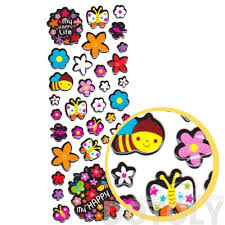 colorful flowers bees and butterflies shaped puffy stickers for