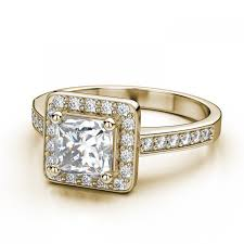 28ctw halo square princess cut halo ring setting in 14k yellow