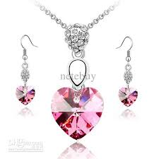 crystal love heart necklace images Valentine love heart rose red crystal necklace sets jewelry sets jpg