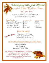thanksgiving specials from the kitchen and bakery