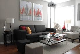 design idea for small living room red leather cushion white modern