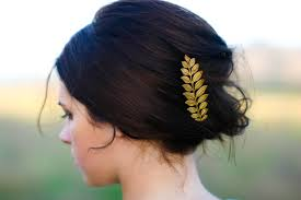 hair barrettes luxe gold laurel leaf hair pin bobby pin hair clip
