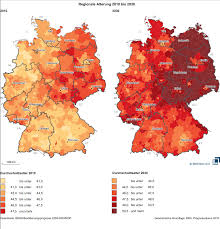 Maps Germany by Average Age In German Districts 2010 And 2030 Map Germany