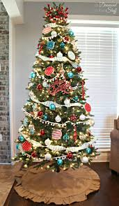 Christmas Tree Ideas 2015 Red Aqua And Red Christmas Tree