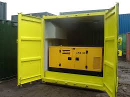 shipping container converted into a generator store