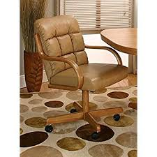 Dining Chairs With Casters Amazon Com Casual Rolling Caster Dining Chair With Swivel Tilt