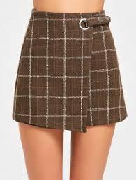 plaid skirt high waist embellished plaid skirt coffee skirts l zaful