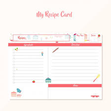 coloured recipe template vector free download