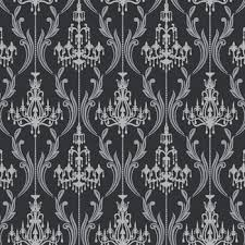 ab2169 black u0026 white chandelier damask wallpaper by york