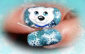 sweet xmas polar bear u0026 snowflakes nails tutorial nail art