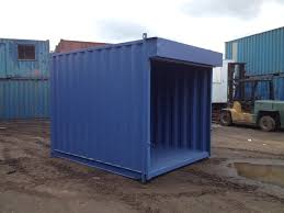 10ft x 8ft blue used shipping container with roller shutter u2014 www