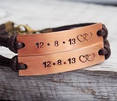 his and hers engraved bracelets engraved couples bracelet personalized couples bracelet copper