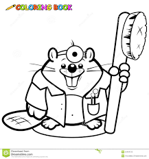 beaver dentist holding a toothbrush coloring page stock vector