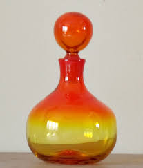 Tangerine Home Decor Blenko Wayne Husted Tangerine Decanter Midcentury Amberina Art