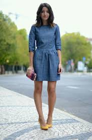 the look denim desires blue dresses chambray and street styles