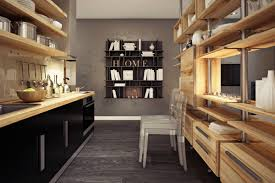 Wall Mounted Kitchen Shelves by Interior Small Kitchen With Wooden Kitchen Shelves And Stainless
