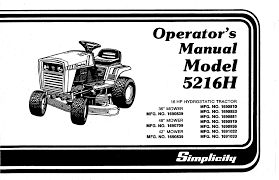 simplicity lawn mower 5216h user guide manualsonline com
