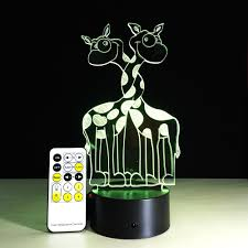 wholesale remote control giraffe 3d light colorful touch led