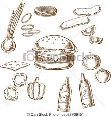 clipart vector of sketch of tasty burger with many ingredients