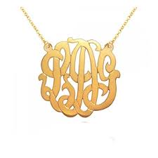 gold plated monogram necklace 1 25inch monogram necklace 18k gold plated 925 sterling silver