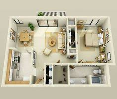 Layout Apartment 50 One U201c1 U201d Bedroom Apartment House Plans Small Dining Bedroom