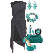 grey with turquoise accessories polyvore