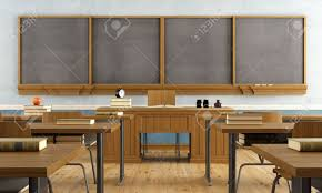 Wooden Furniture Vintage Classroom Without Student With Wooden Furniture And Big
