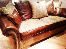 Leather And Upholstered Sofa Sofa Harvest Leather Fabric Studs And Goose Fill By The Rustic