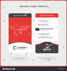 vertical doublesided business card template red stock vector