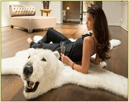 fake polar bear rug with head rug designs