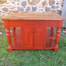 bright red u0026 oak top kitchen island furniture from the barn