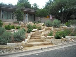 Front Yard Landscape Design by Xeriscape Front Yard With Limestone Retaining Walls And A Grand