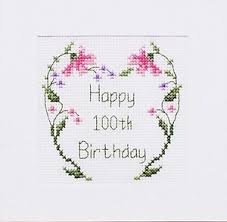 100th Birthday Card 100th Birthday Card Cross Stitch Card Kit 3 Different Designs