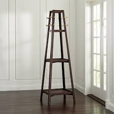 truro tabac wood standing coat rack crate and barrel