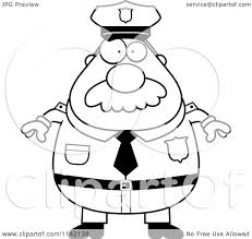 cartoon clipart of a black and white chubby police man with a
