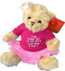 flower girl teddy personalised teddy flower girl bridesmaid embroidered dressed