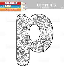 coloring book lower case letters hand drawn template stock
