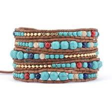 leather wrap bracelet with stones images Turquoise graduated stone leather wrap bracelet jpg