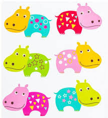 bright colorful hippo stickers papercraft scrapbooking zoo