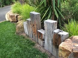 landscape block adhesive creative landscape design rustic style old wood logs retaining